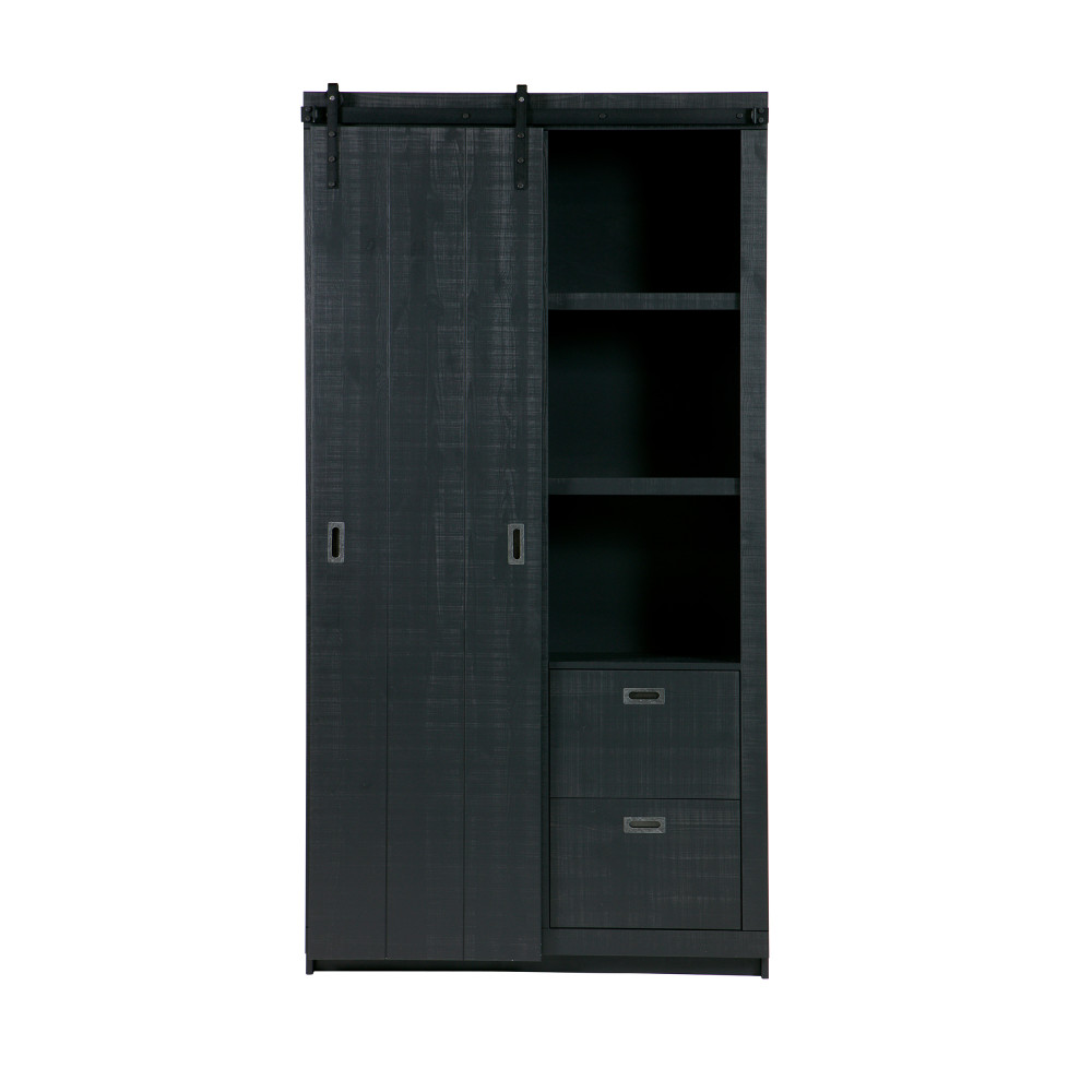 Armoire design bois porte coulissante noir