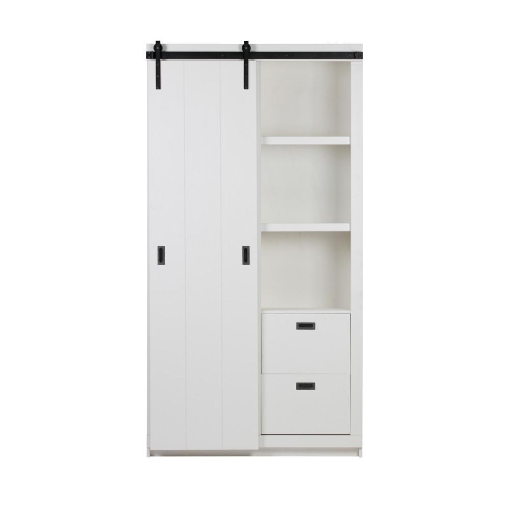 Armoire design bois porte coulissante blanc