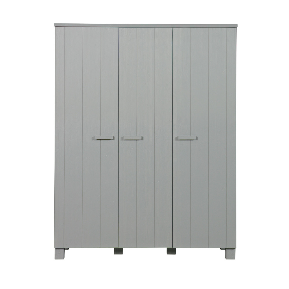 Armoire pin brossé 3 portes gris béton