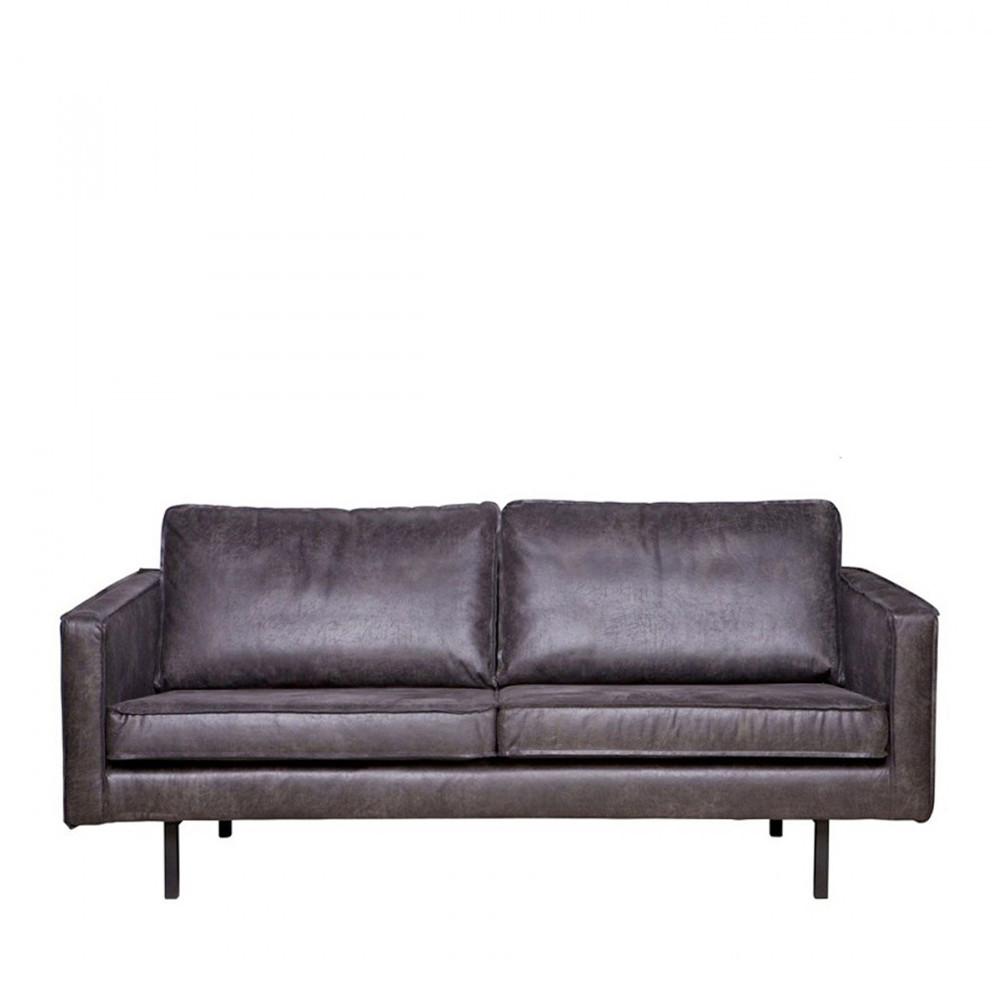 Canapé droit 4 places Noir Cuir Design Confort