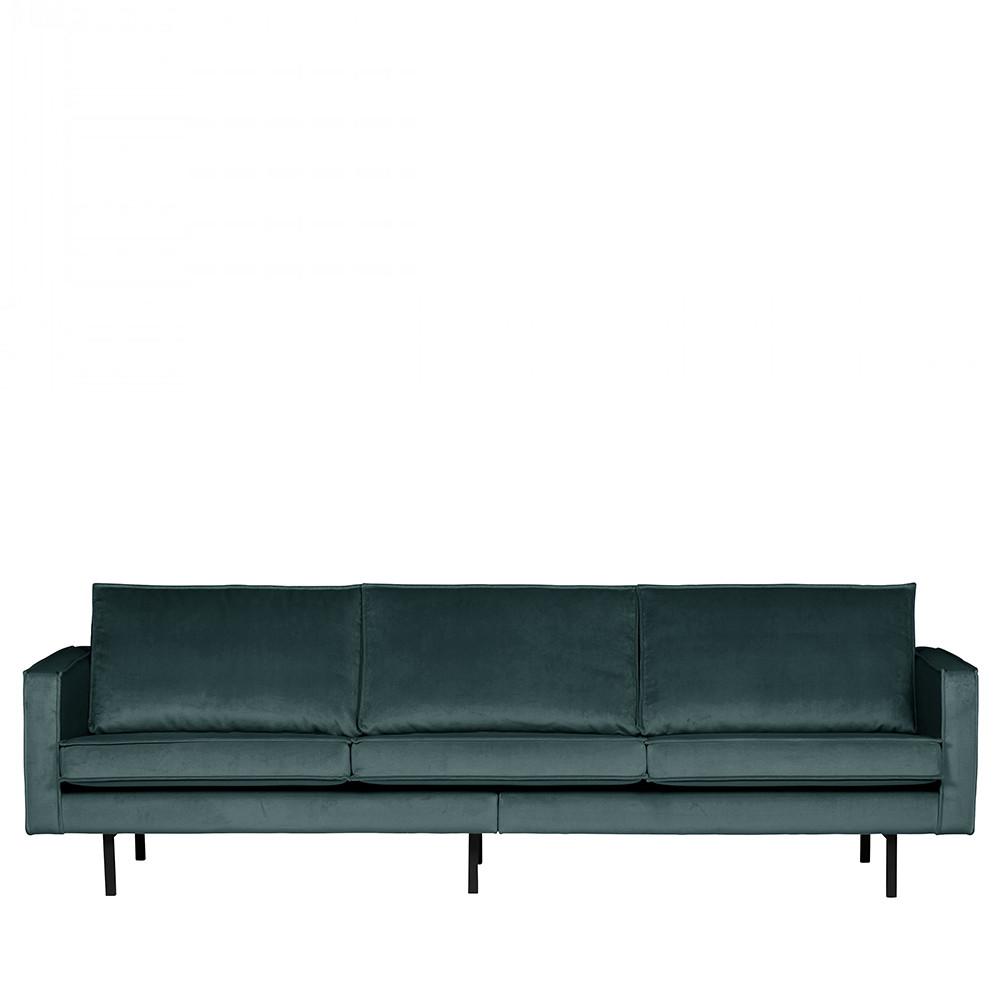 Canapé droit 4 places Bleu Velours Design Confort