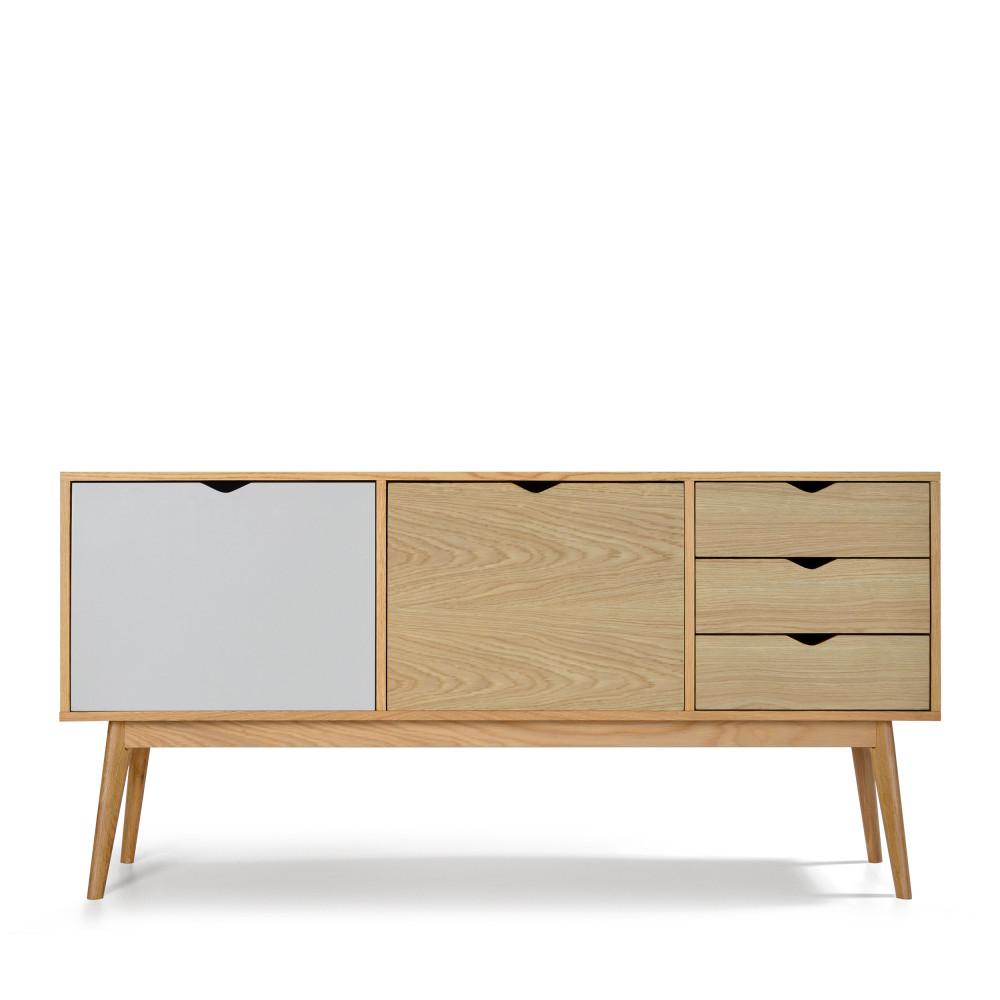 Buffet design 2 portes 3 tiroirs chêne blanc craie