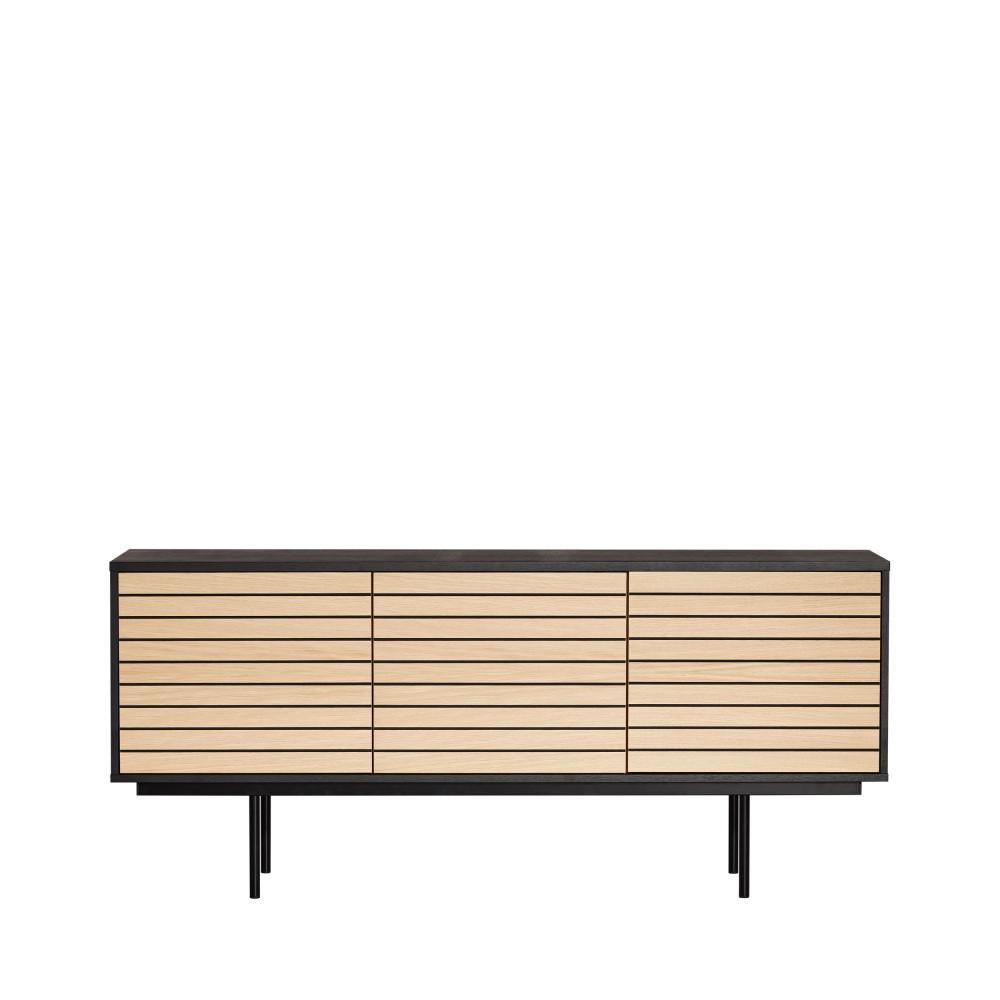 Buffet design en bois et métal noir et chêne