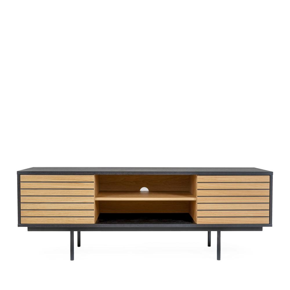 Meuble TV design en bois et métal noir et chêne