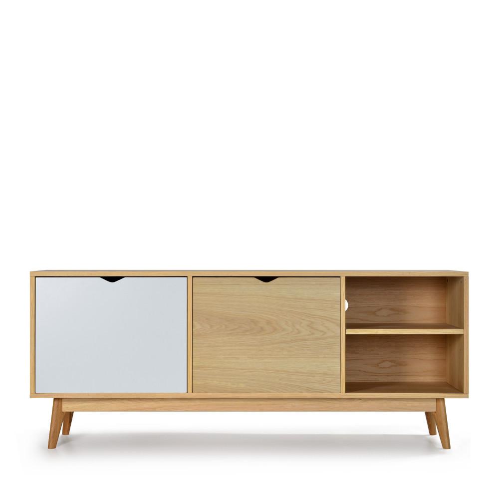 Meuble TV design 2 portes chêne blanc craie