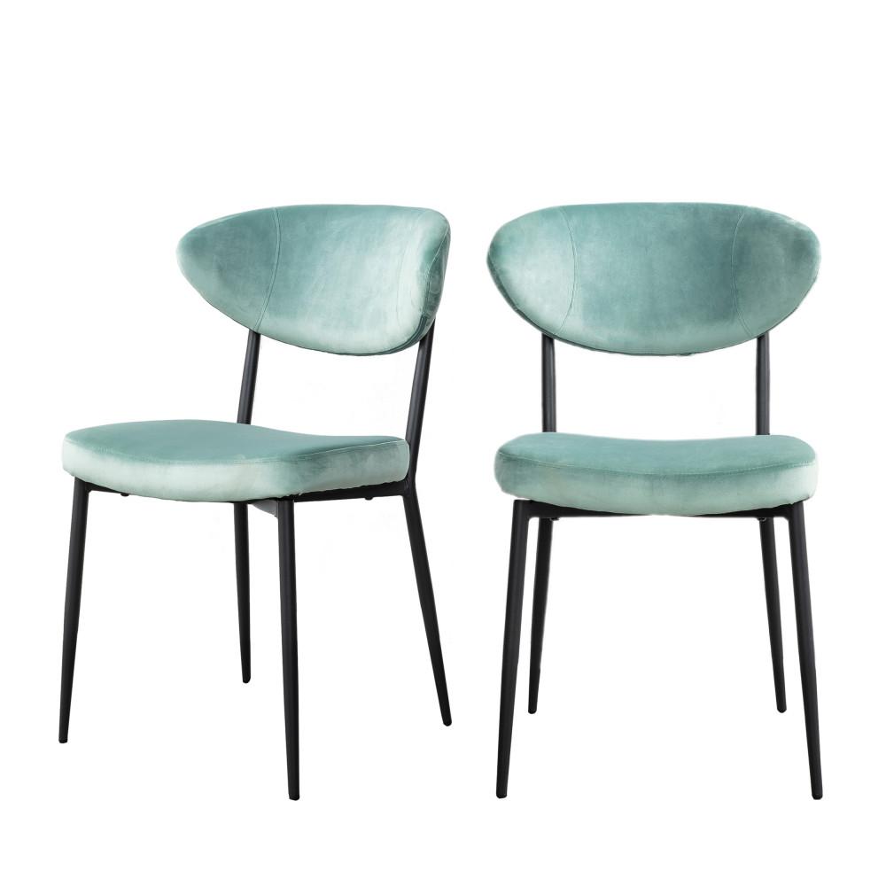 2 chaises en métal et velours vert d'eau
