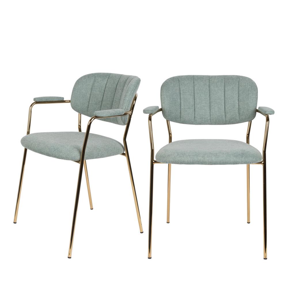 2 chaises avec accoudoirs pieds dorés vert de gris