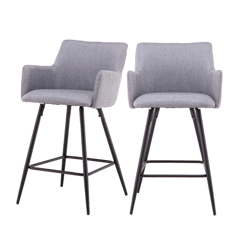 2 chaises de bar en métal et tissu 62cm gris