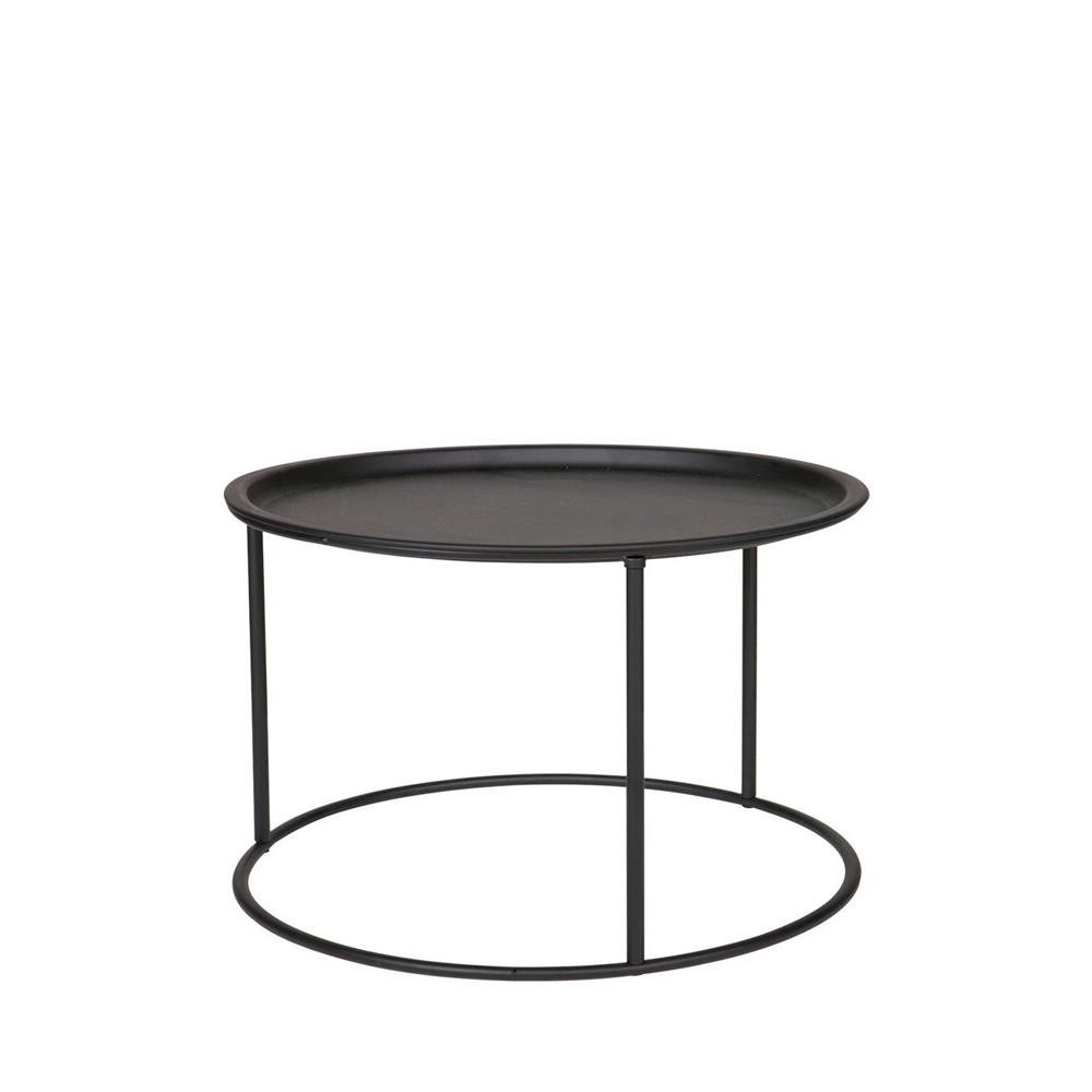 Table basse plateau amovible métal L noir