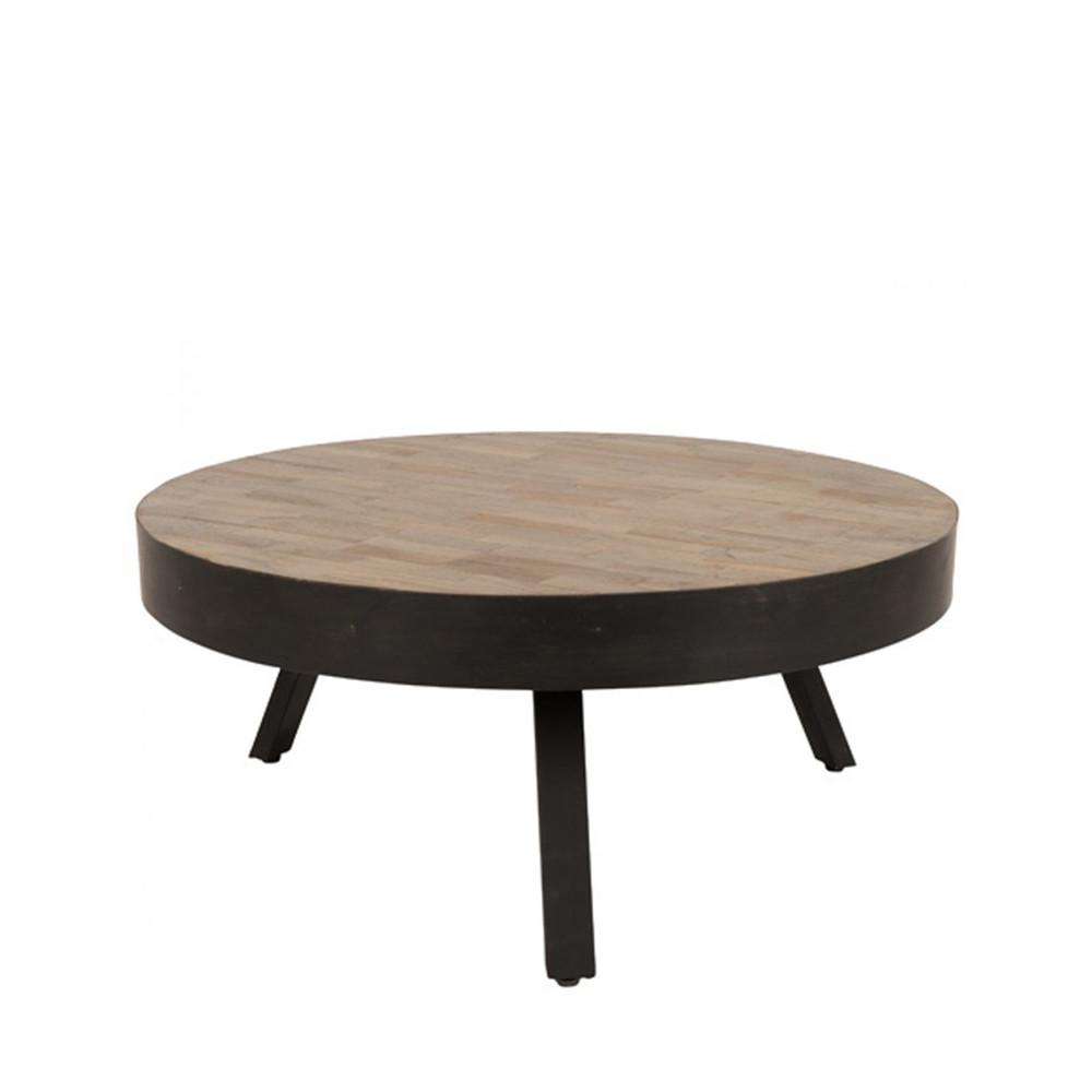Table basse ronde D74 cm en teck recyclé Large