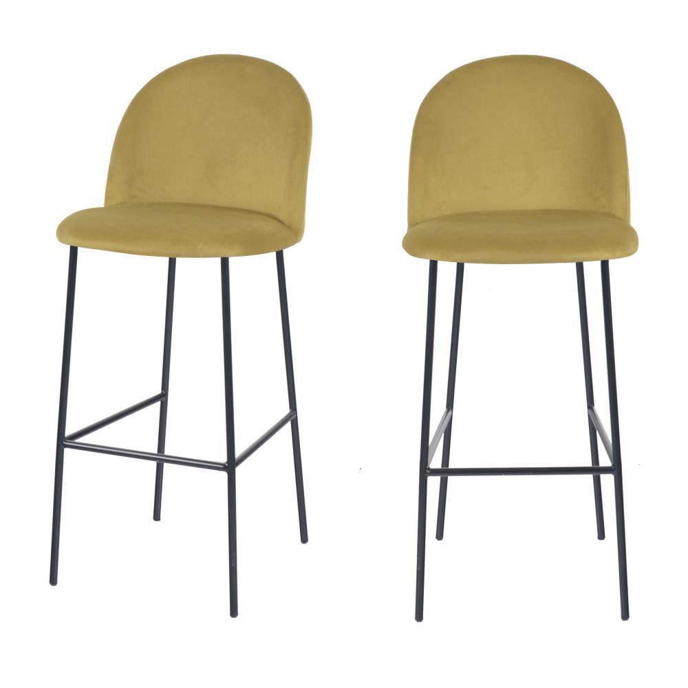 2 tabourets de bar en velours 75cm jaune