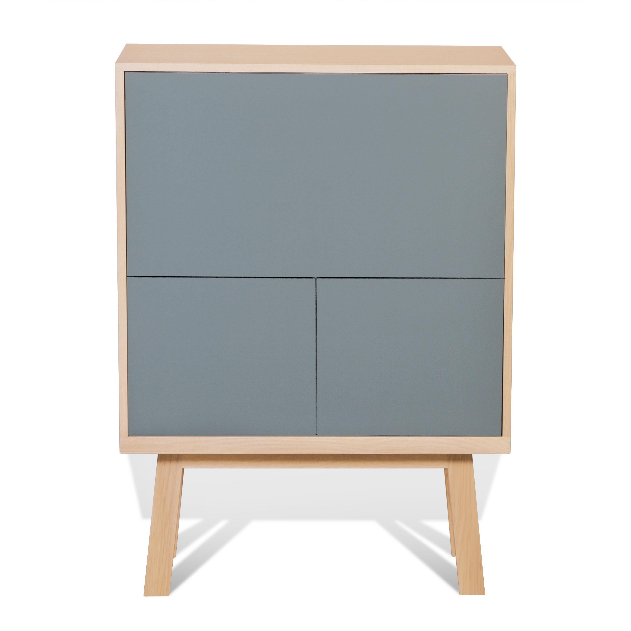 Bureau secrétaire en bois bleu gris lehon