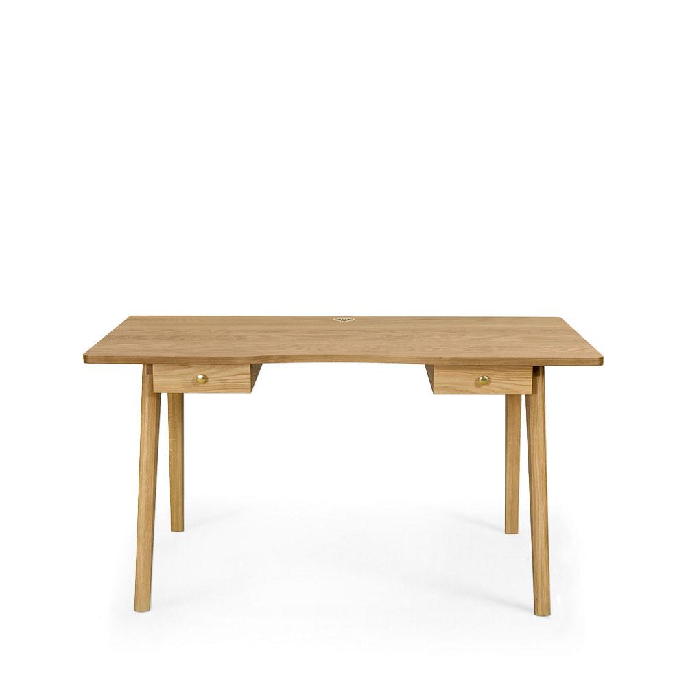 Bureau en bois 2 tiroirs chêne