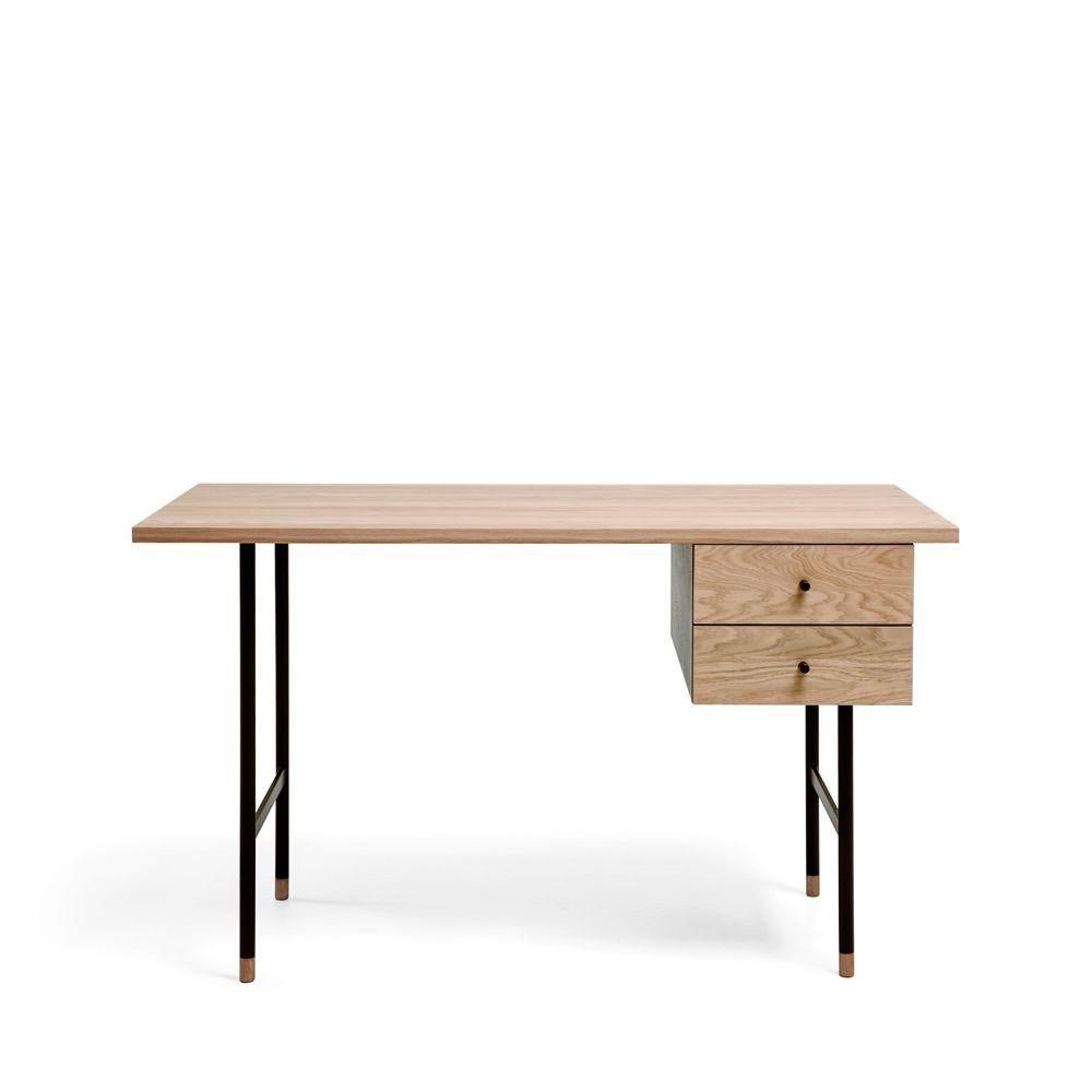 Bureau design bois et métal 2 tiroirs chêne