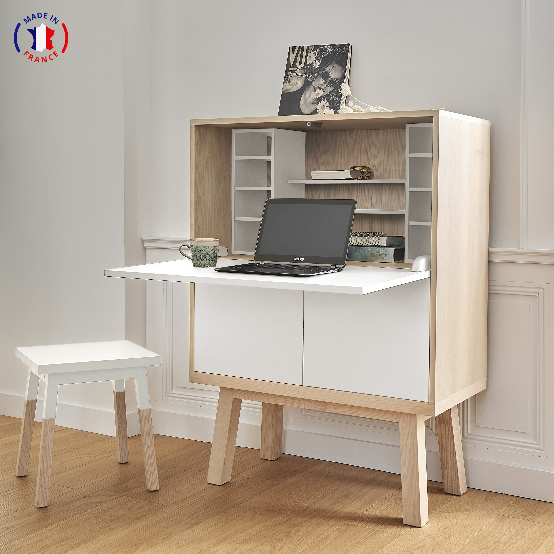 Bureau secrétaire en bois blanc balisson