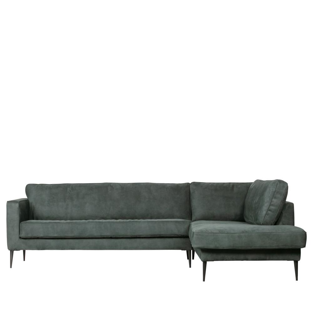 Canapé angle droit aspect daim Vert Foncé