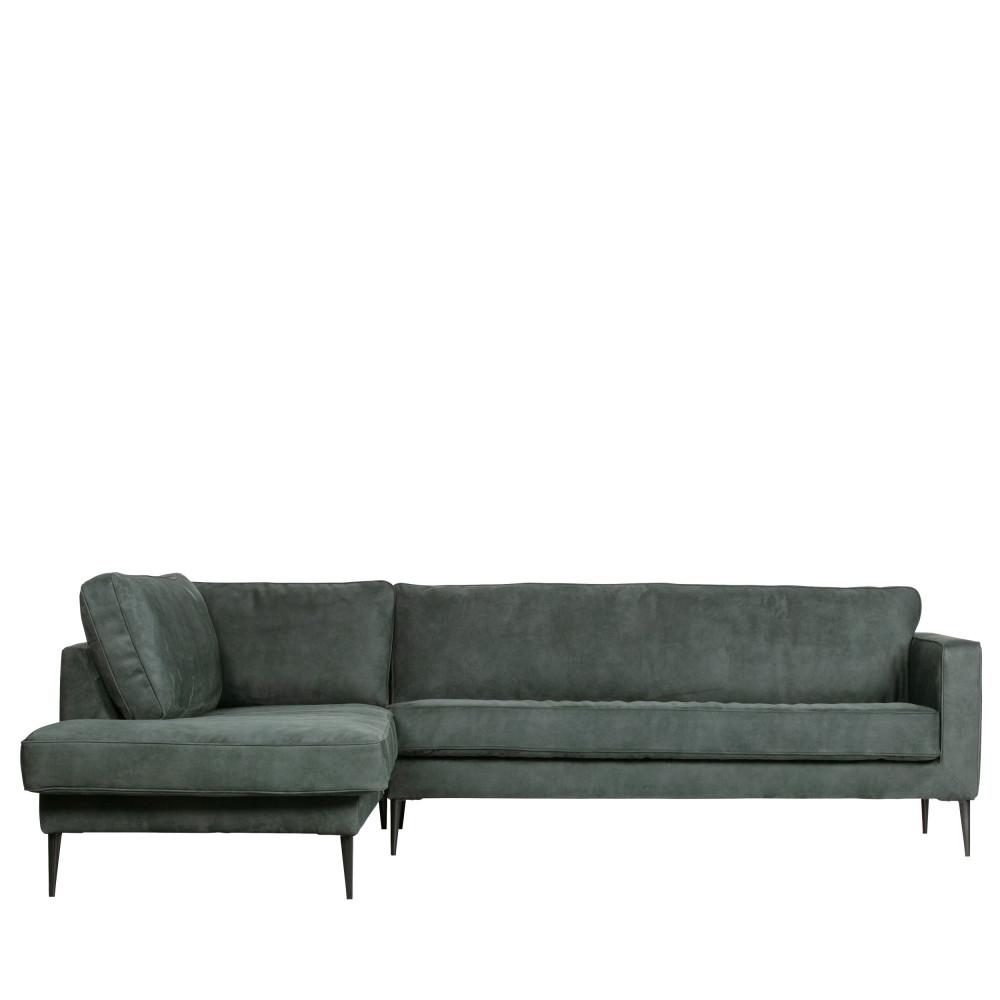 Canapé d'angle gauche en suédine bleu pétrole