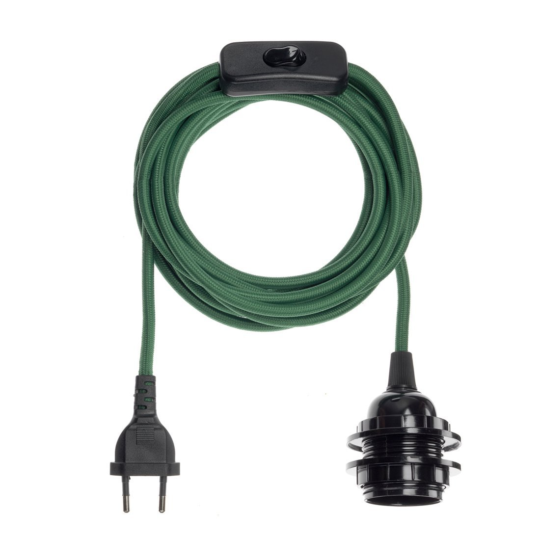 Fil électrique en tissu luminaire vert 4,5m