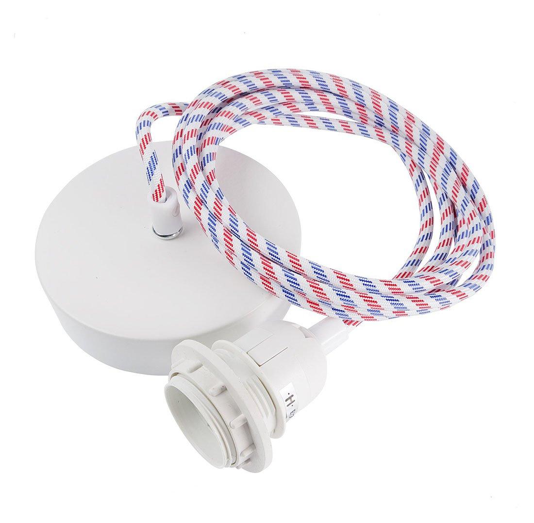 Suspension 1 fil électrique en tissu bleu blanc rouge 3m