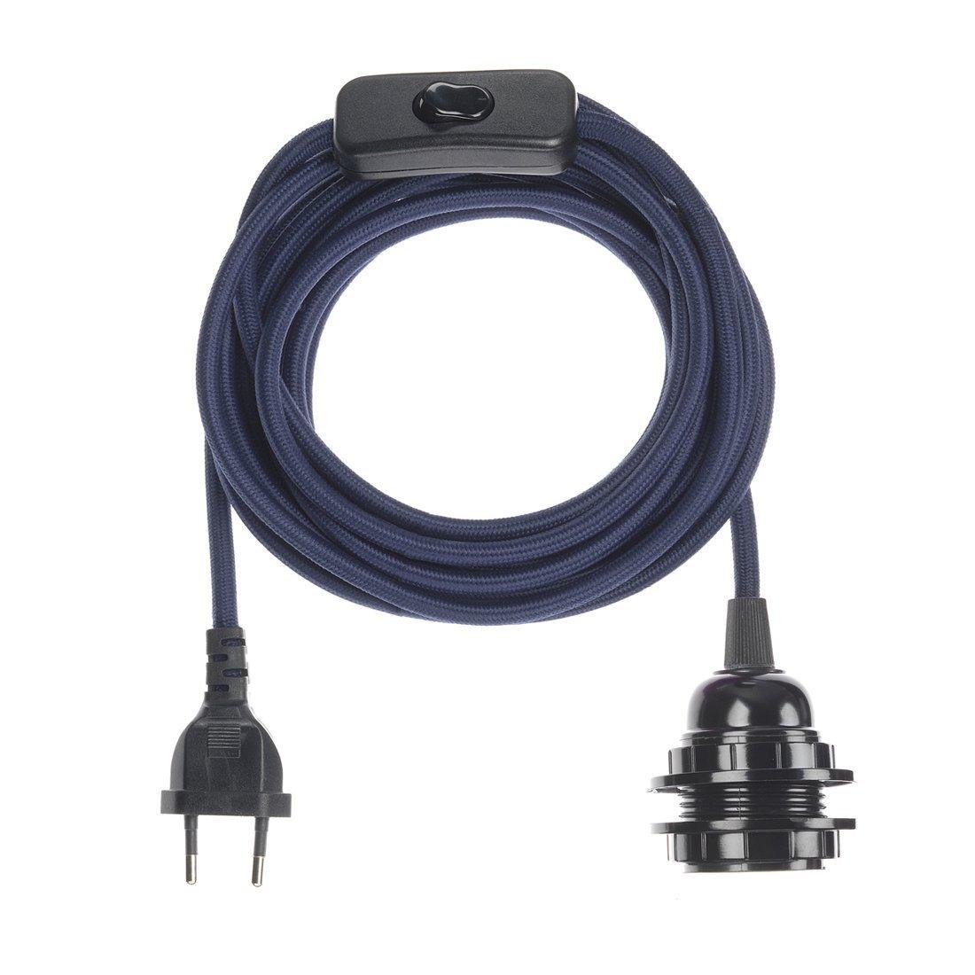 Fil électrique en tissu luminaire bleu marine 4,5m