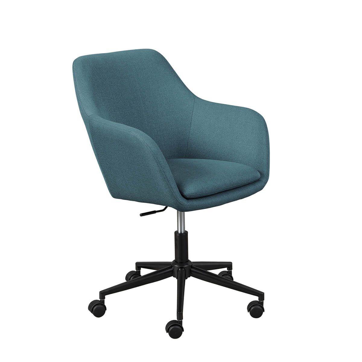Fauteuil  de bureau sur roulettes tissu turquoise
