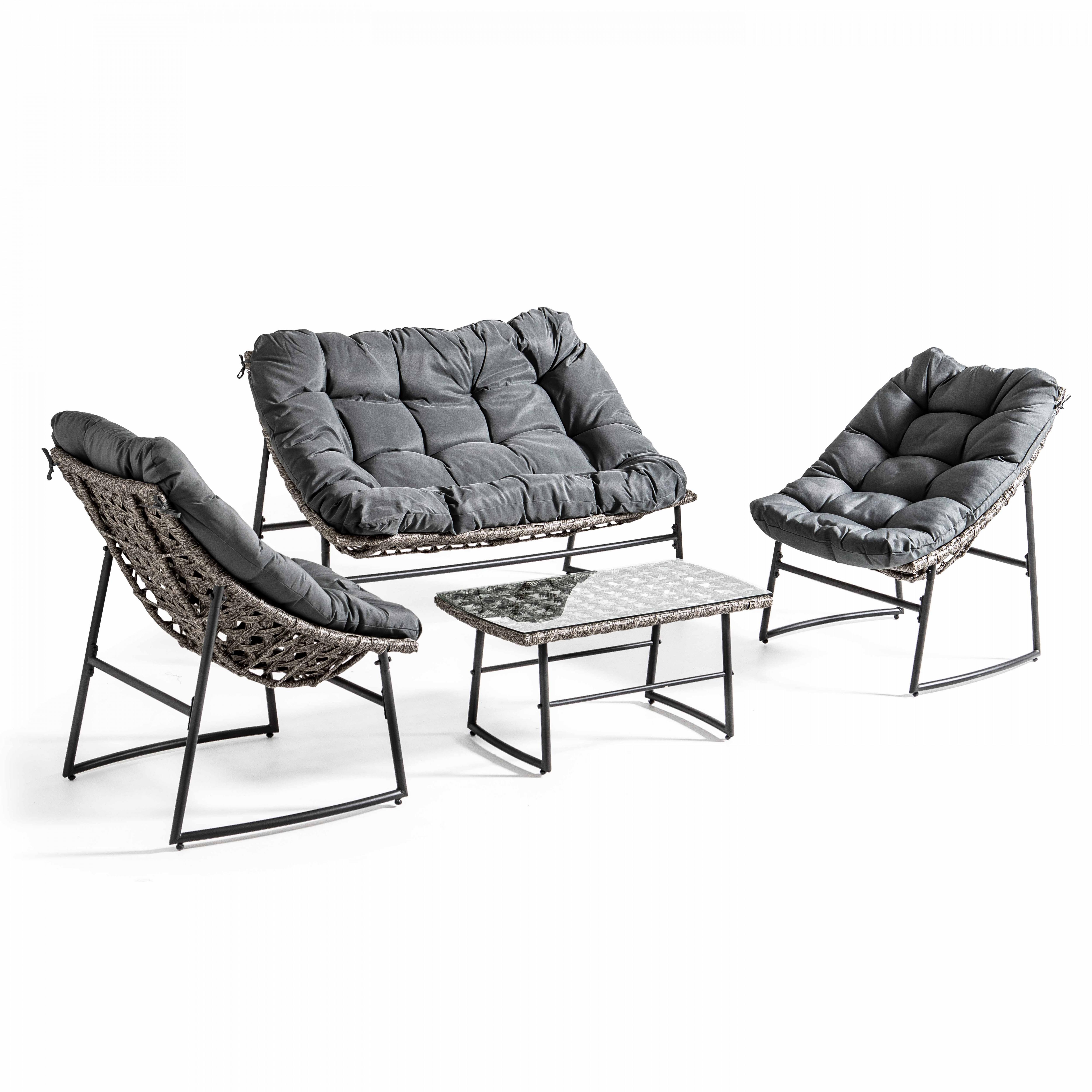 Salon de jardin 4 places en acier gris