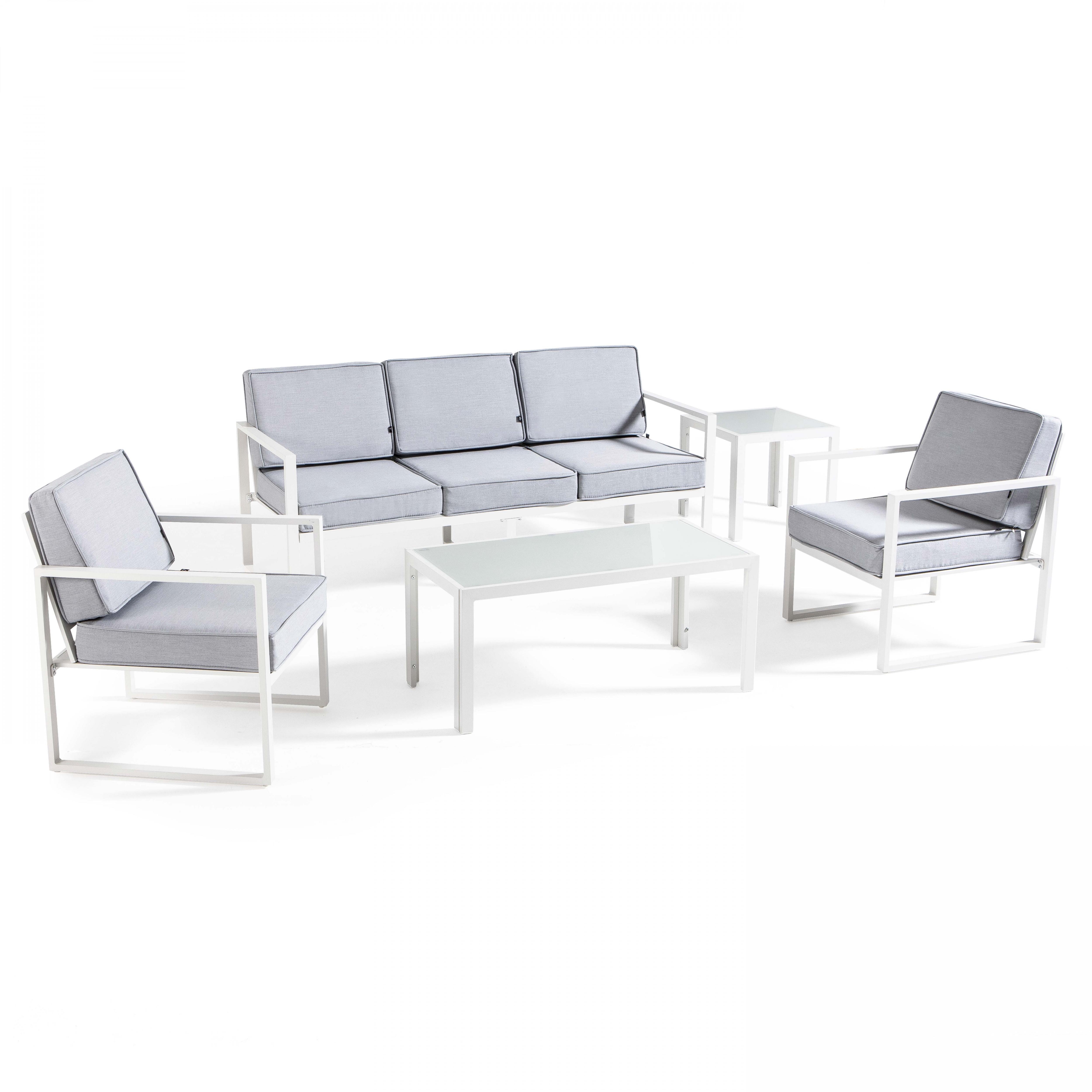 Salon de jardin 5 places en aluminium blanc