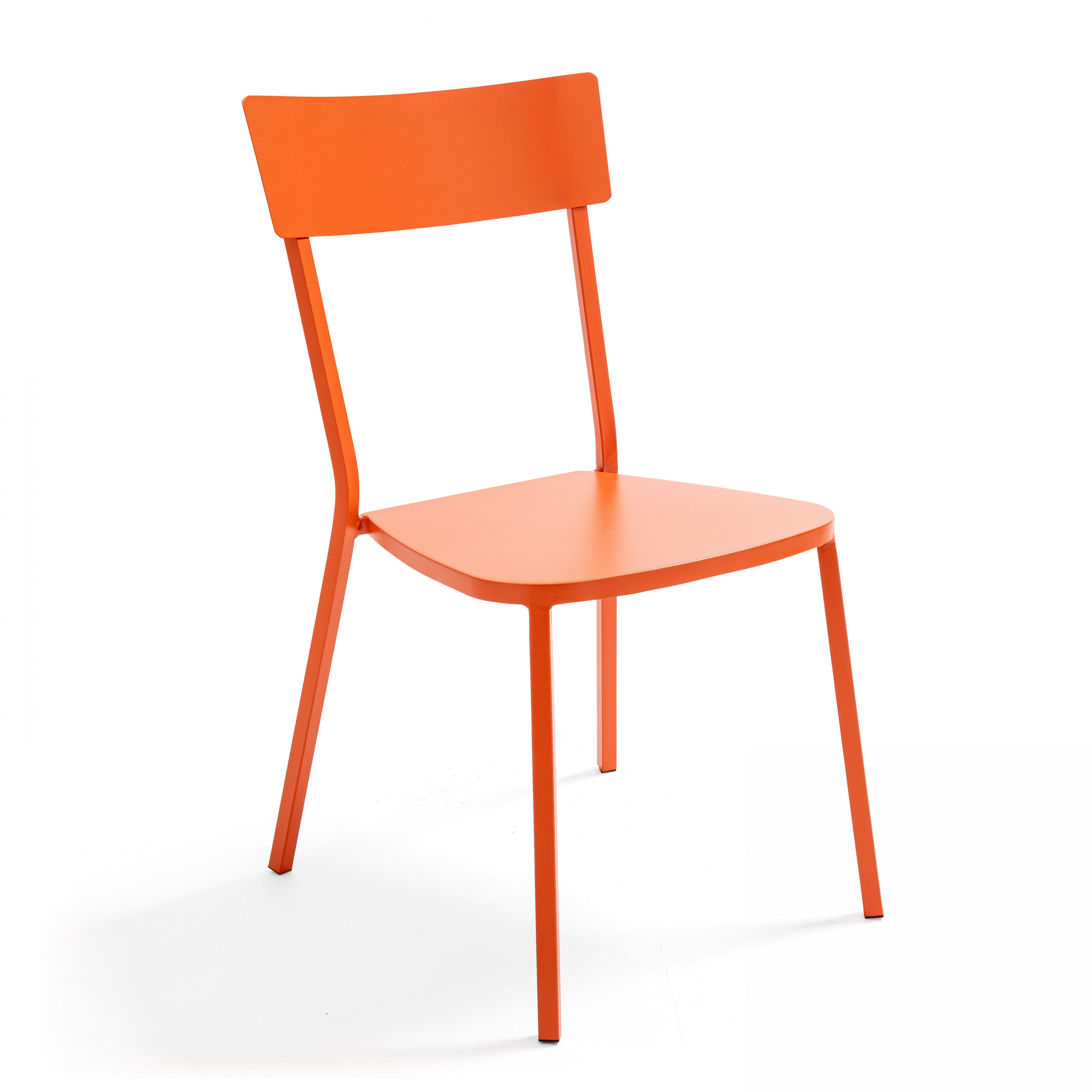 Chaise de jardin bistrot 1 place en acier orange
