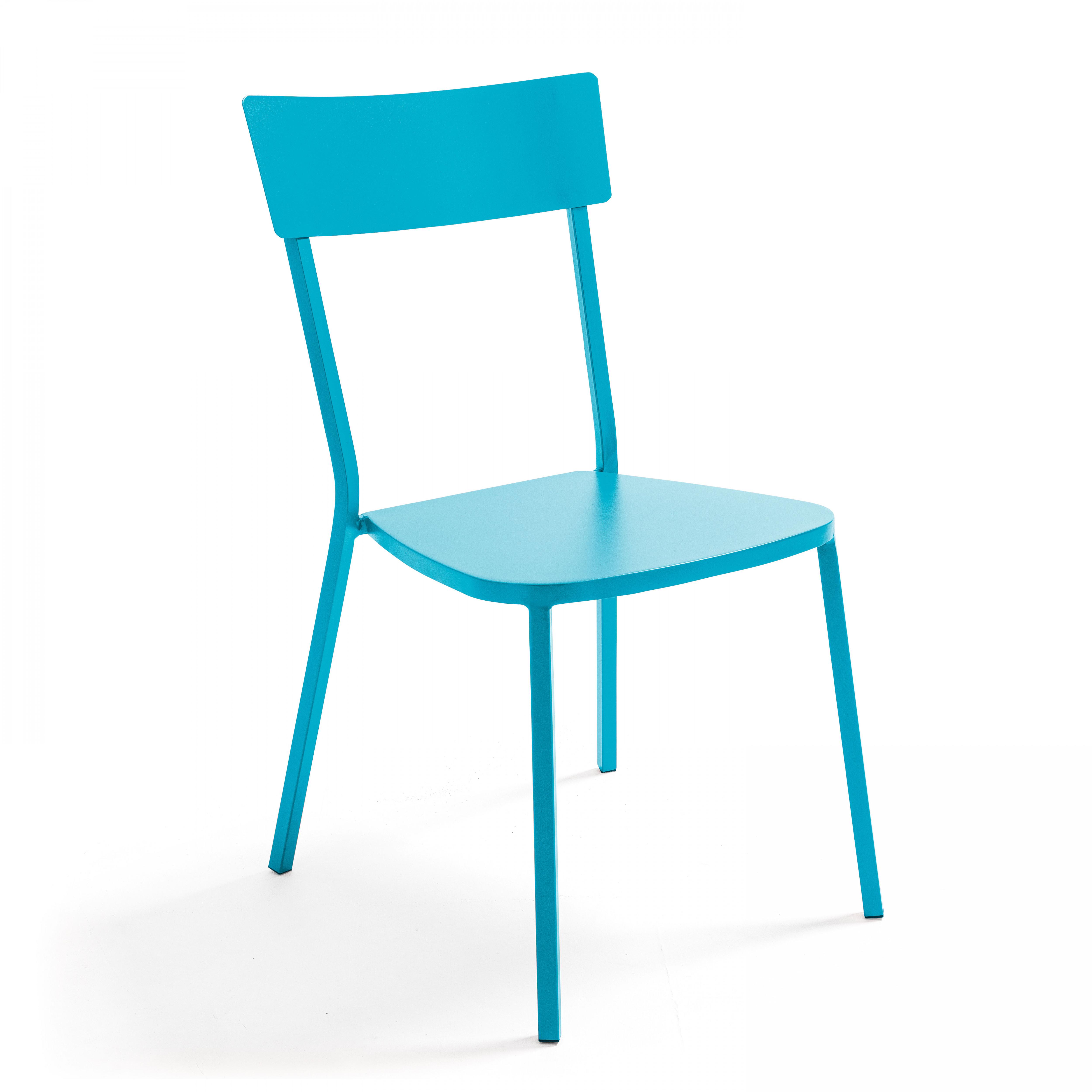 Chaise de jardin bistrot 1 place en acier bleu
