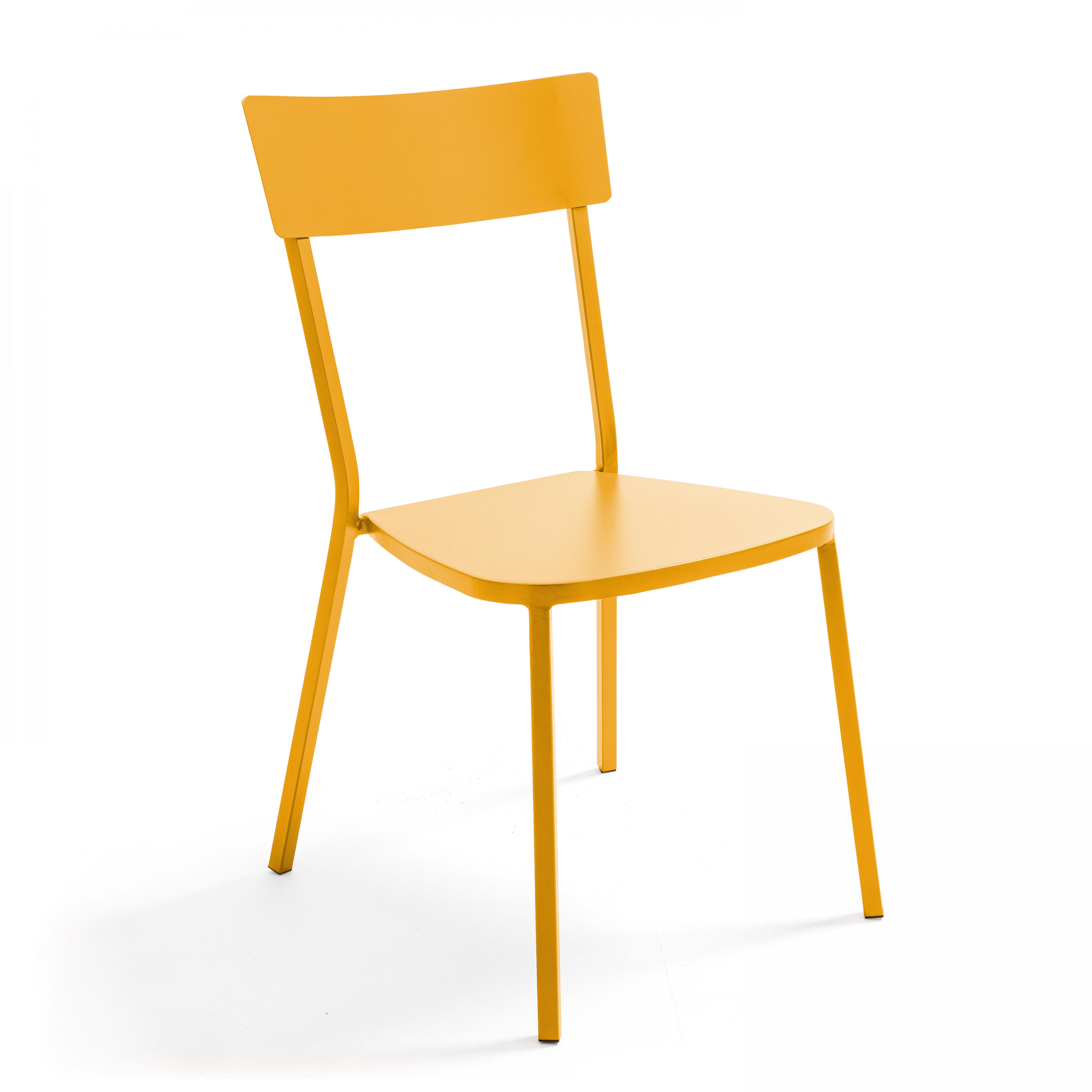 Chaise de jardin bistrot 1 place en acier jaune