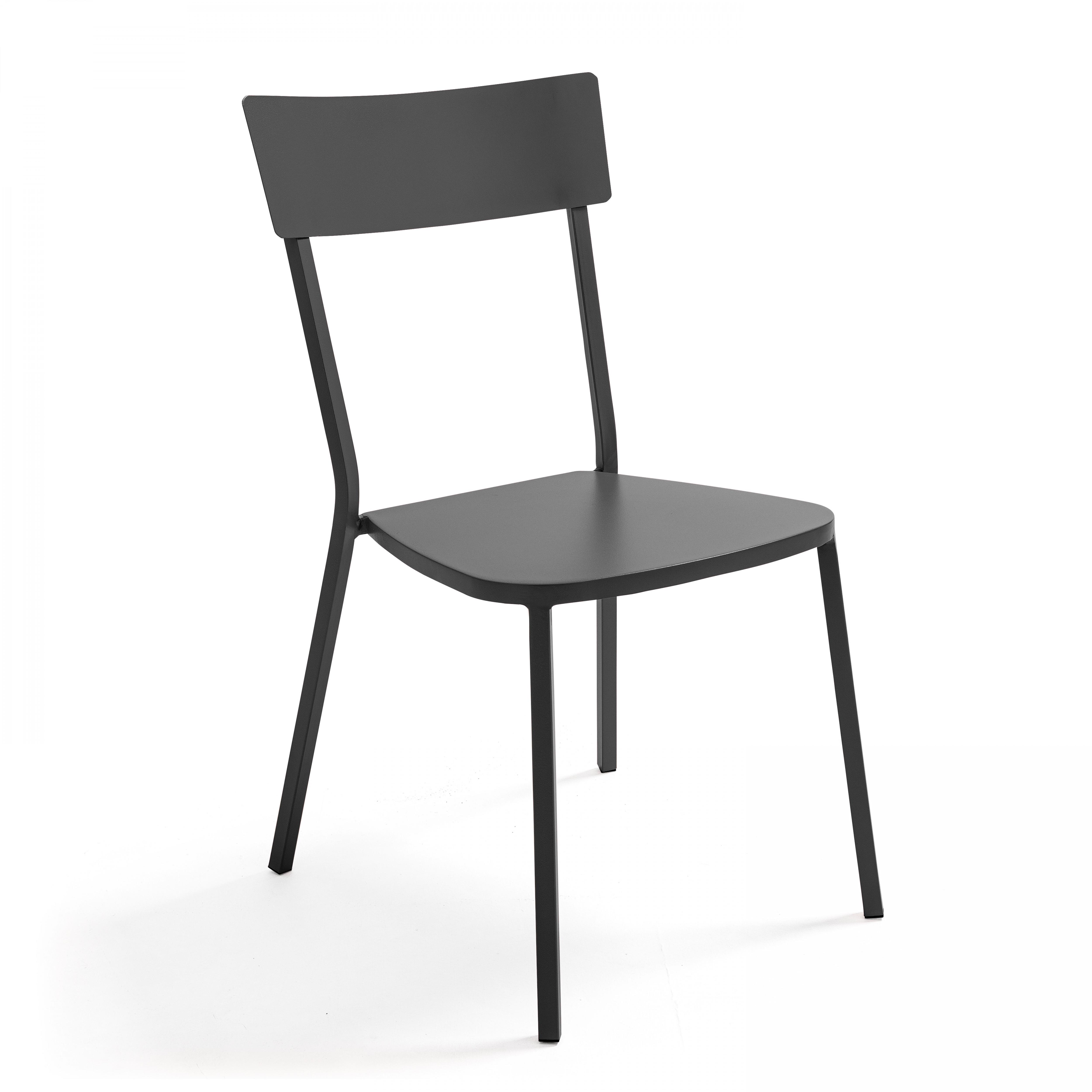 Chaise de jardin bistrot 1 place en acier gris