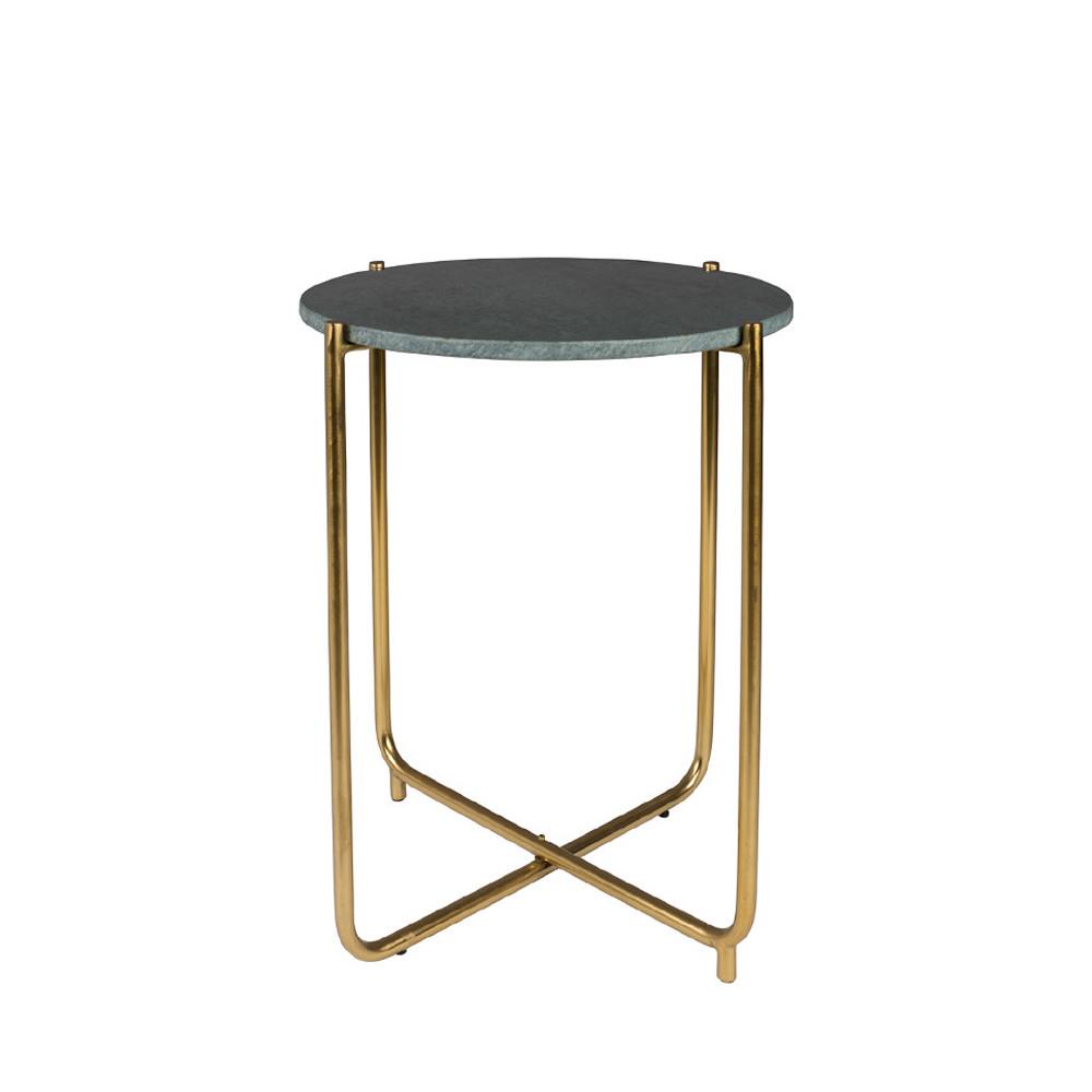 Table d'appoint marbre et laiton vert