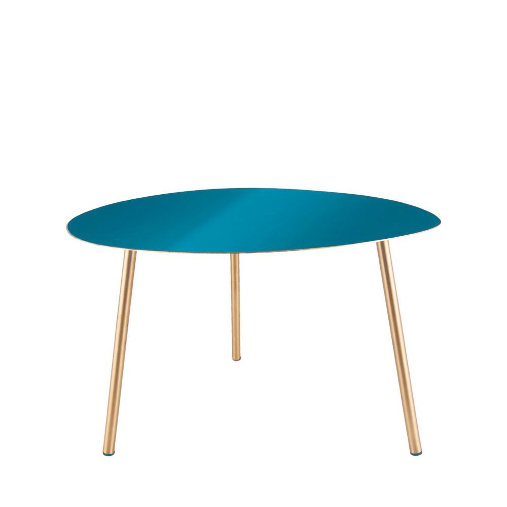 Table d'appoint L en émail bleu