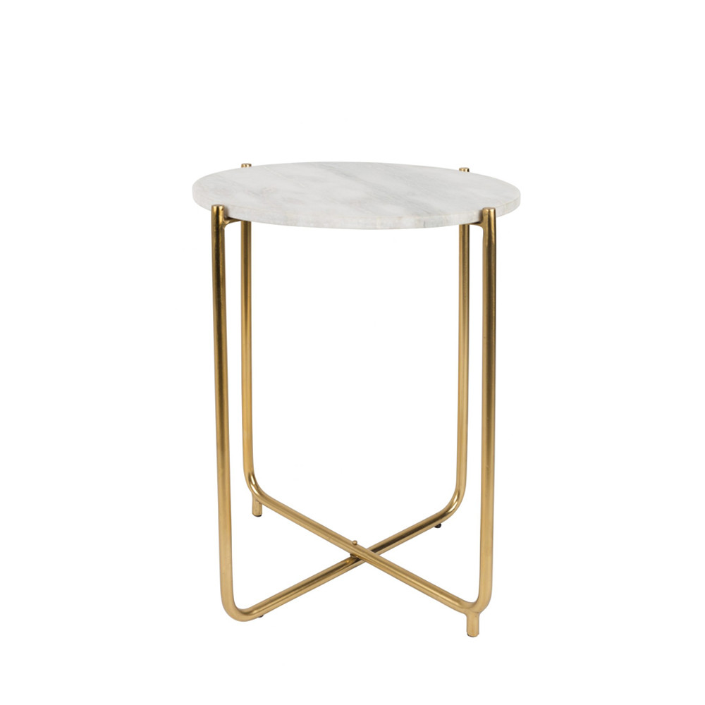 Table d'appoint marbre et laiton blanc craie