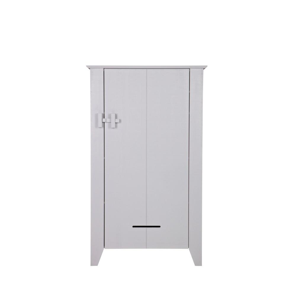 Armoire 1 porte en pin brut gris béton