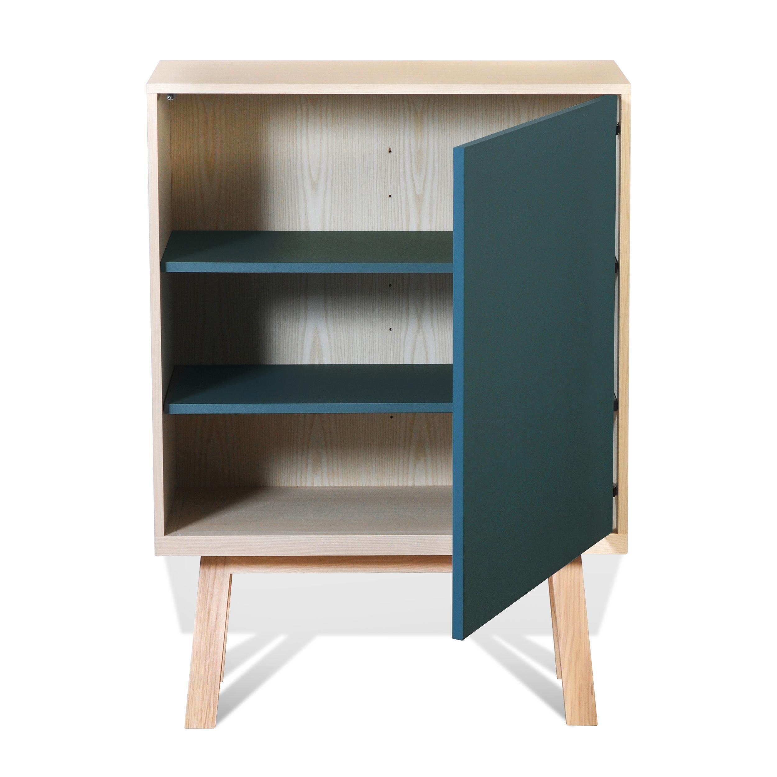 Armoire 1 porte en bois bleu frehel (photo)