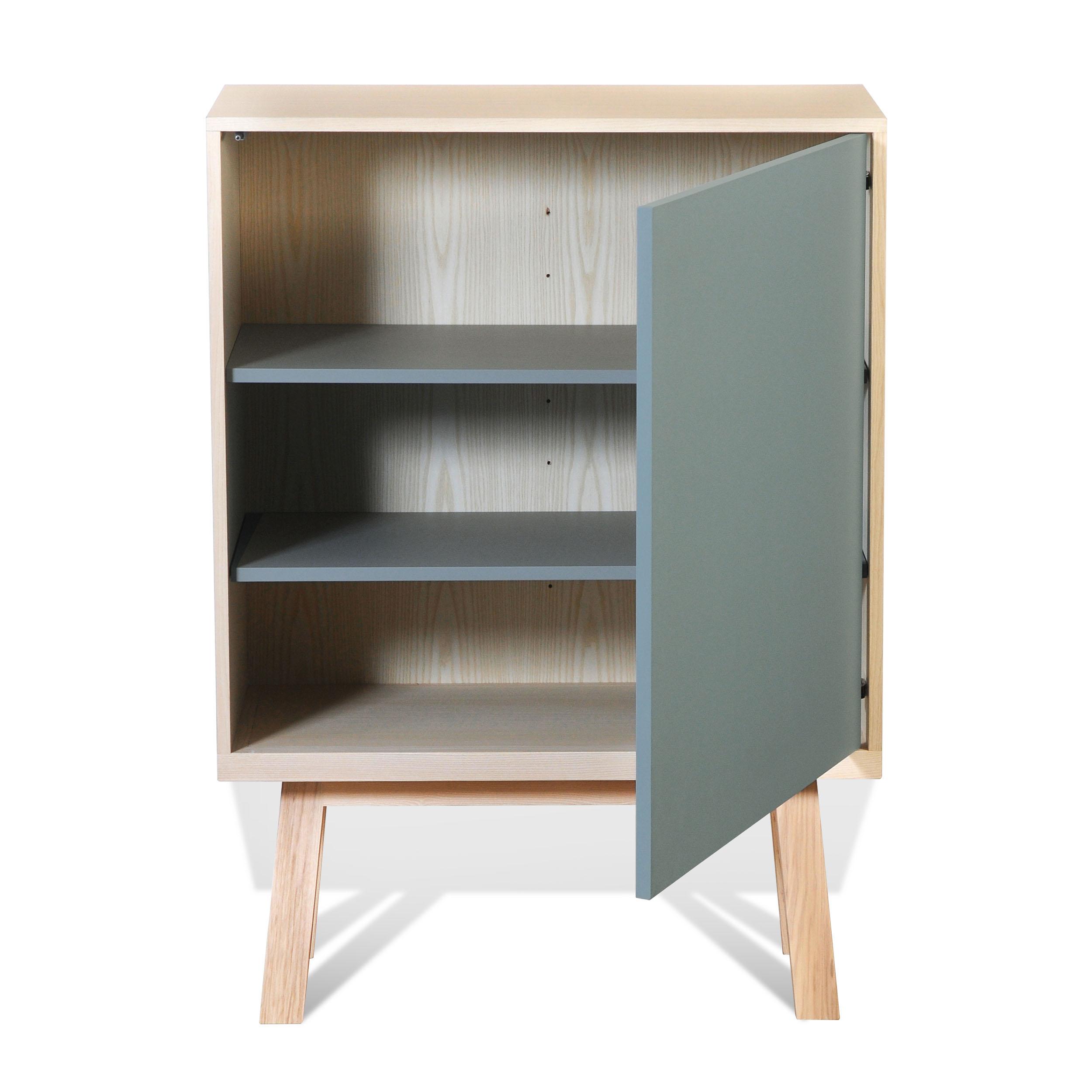 Armoire 1 porte en bois bleu gris lehon (photo)
