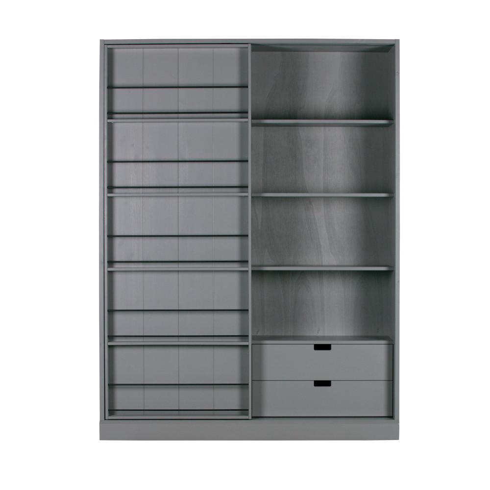 Armoire à porte coulissante en pin gris