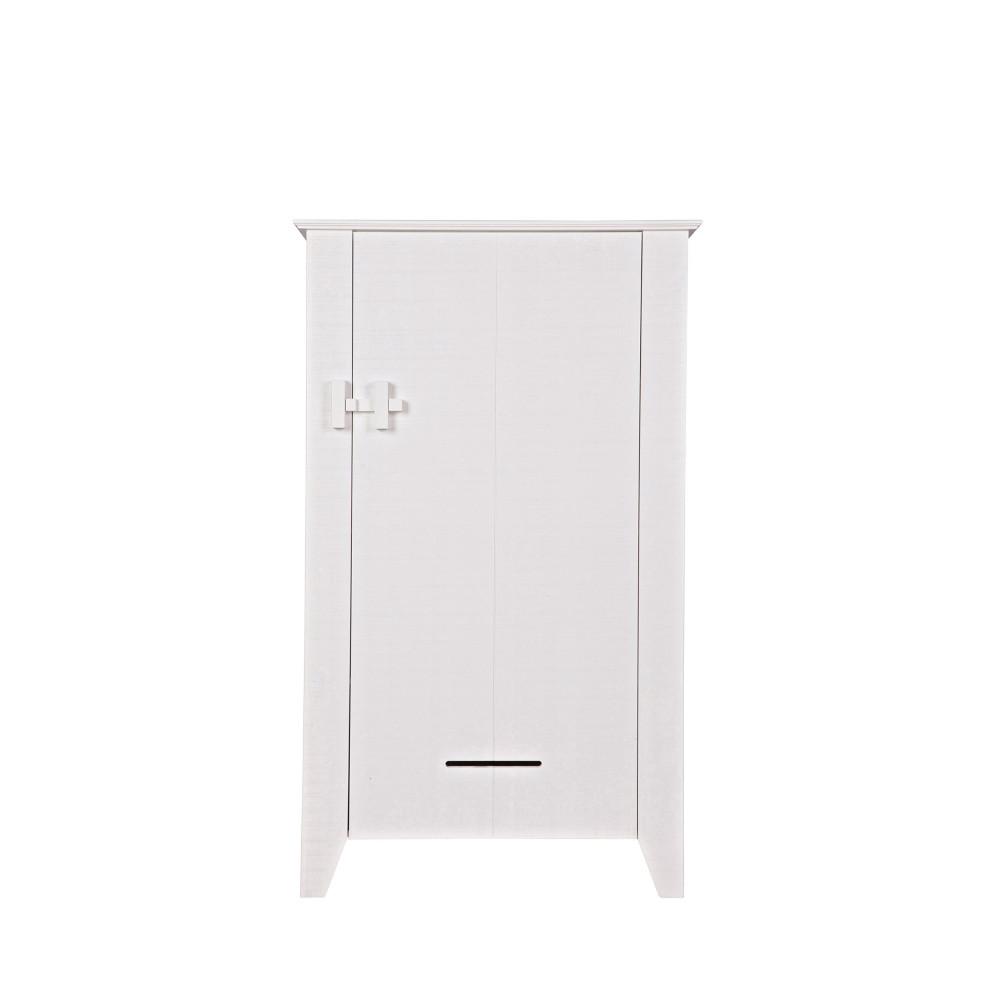 Armoire 1 porte en pin brut blanc