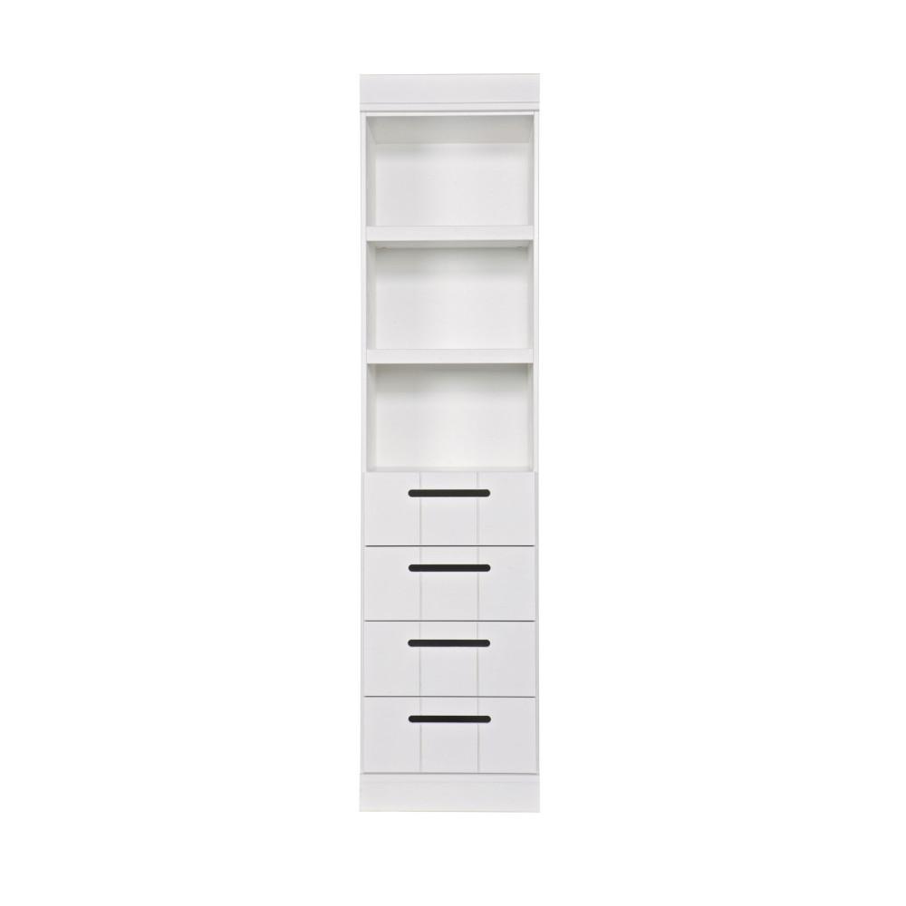Colonne de rangement 3 niches 4 tiroirs blanc
