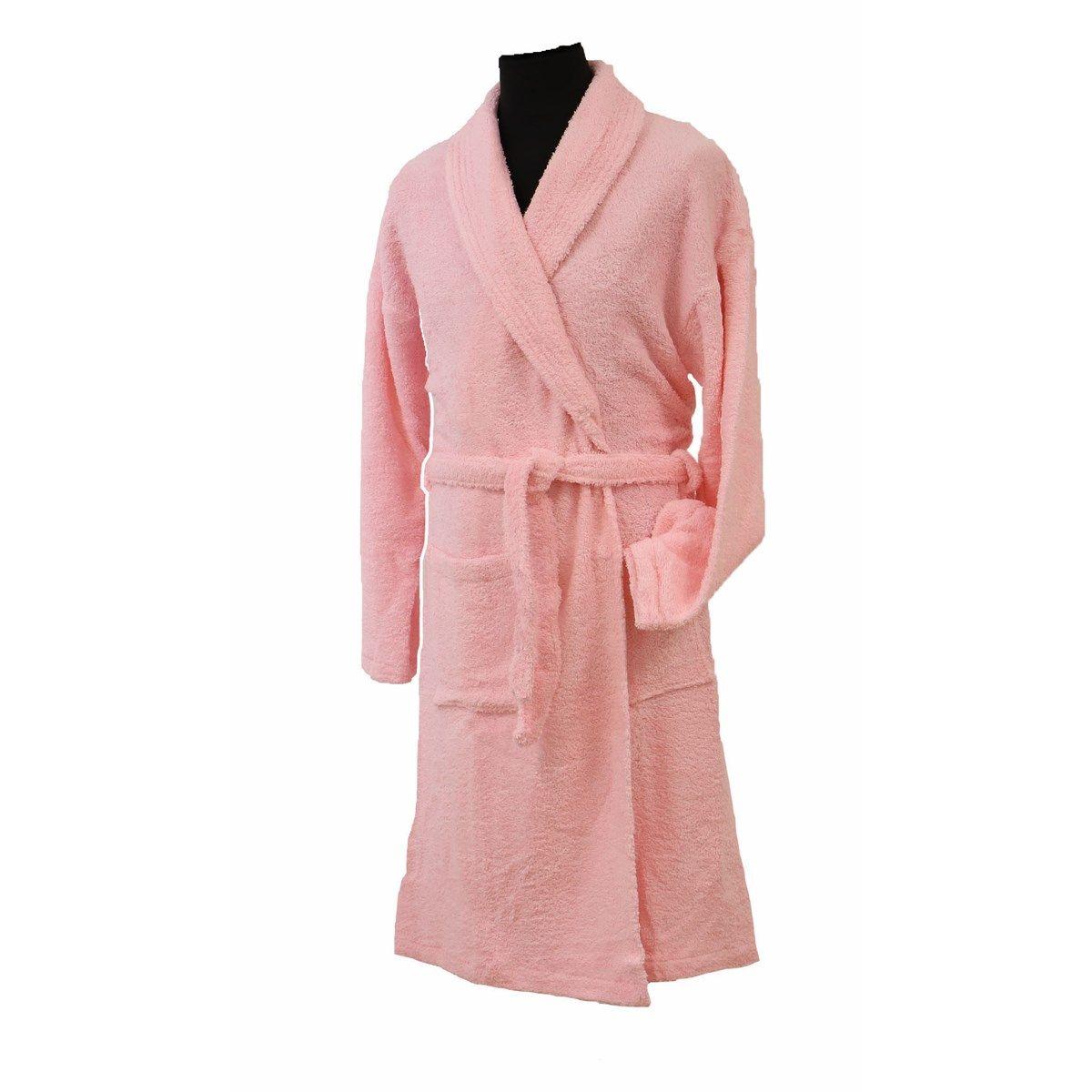 CONFORT - Peignoir mixte col chale coton rose pastel L (photo)