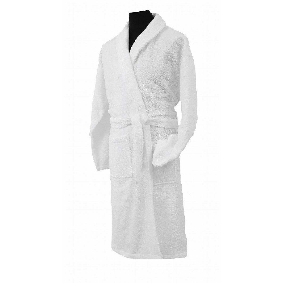CONFORT - Peignoir mixte col chale coton blanc XL (photo)