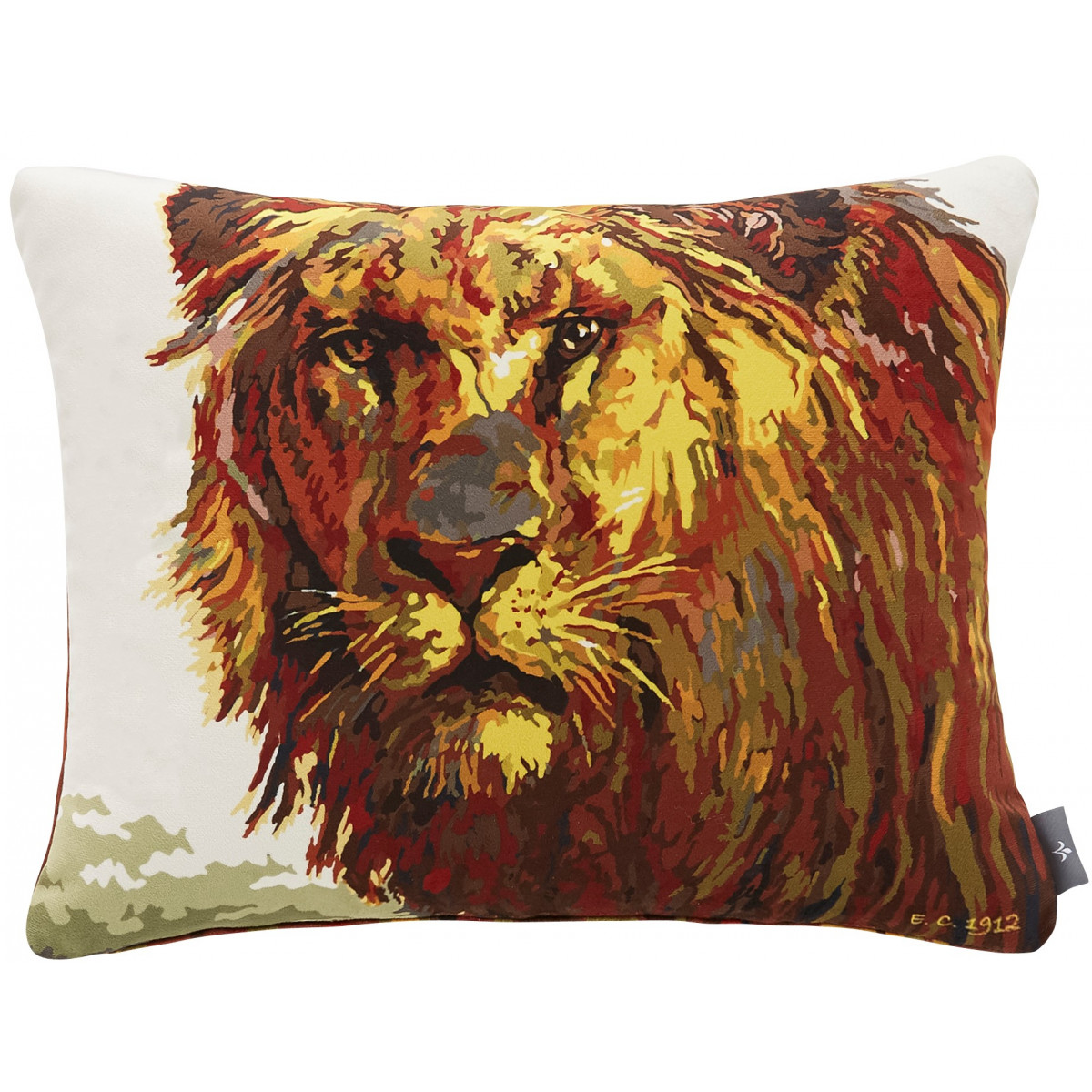 Coussin lion velours Marron 37 x 47