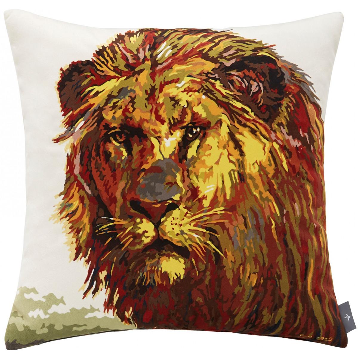 Coussin lion velours Marron 47 x 47
