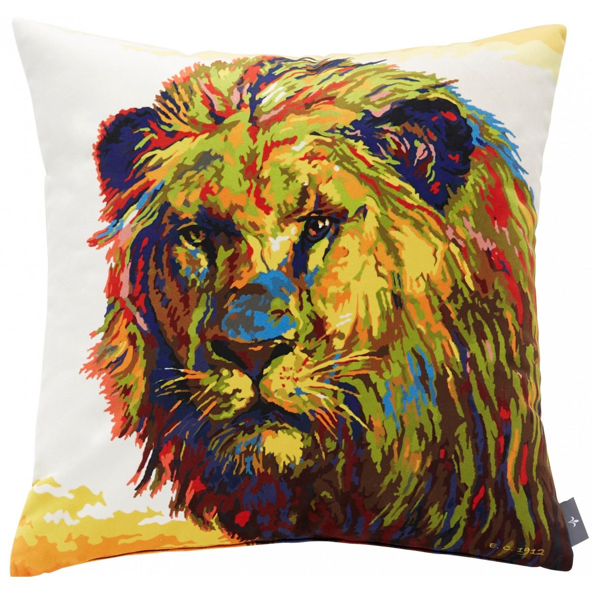 Coussin lion velours Bleu 47 x 47