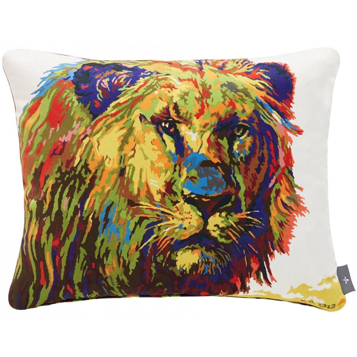 Coussin lion velours Bleu 37 x 47