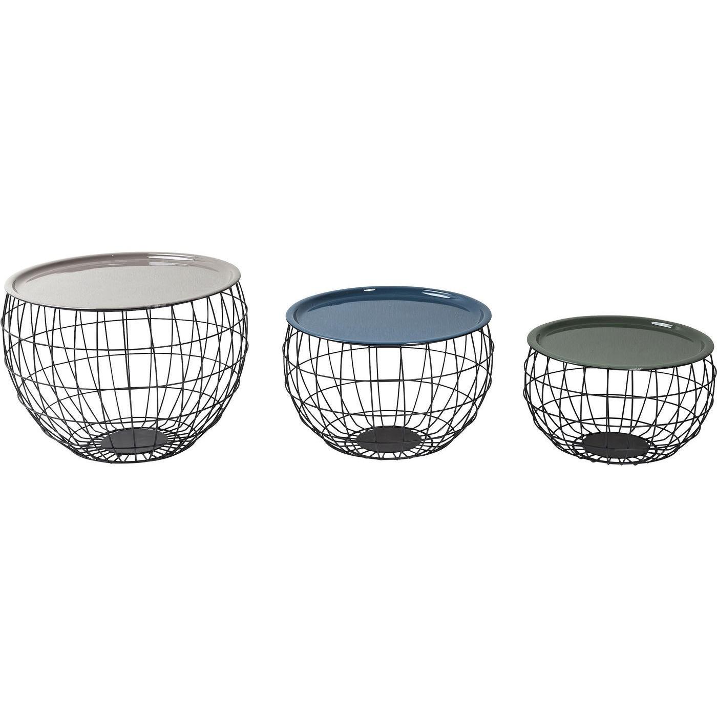 3 tables basses en acier