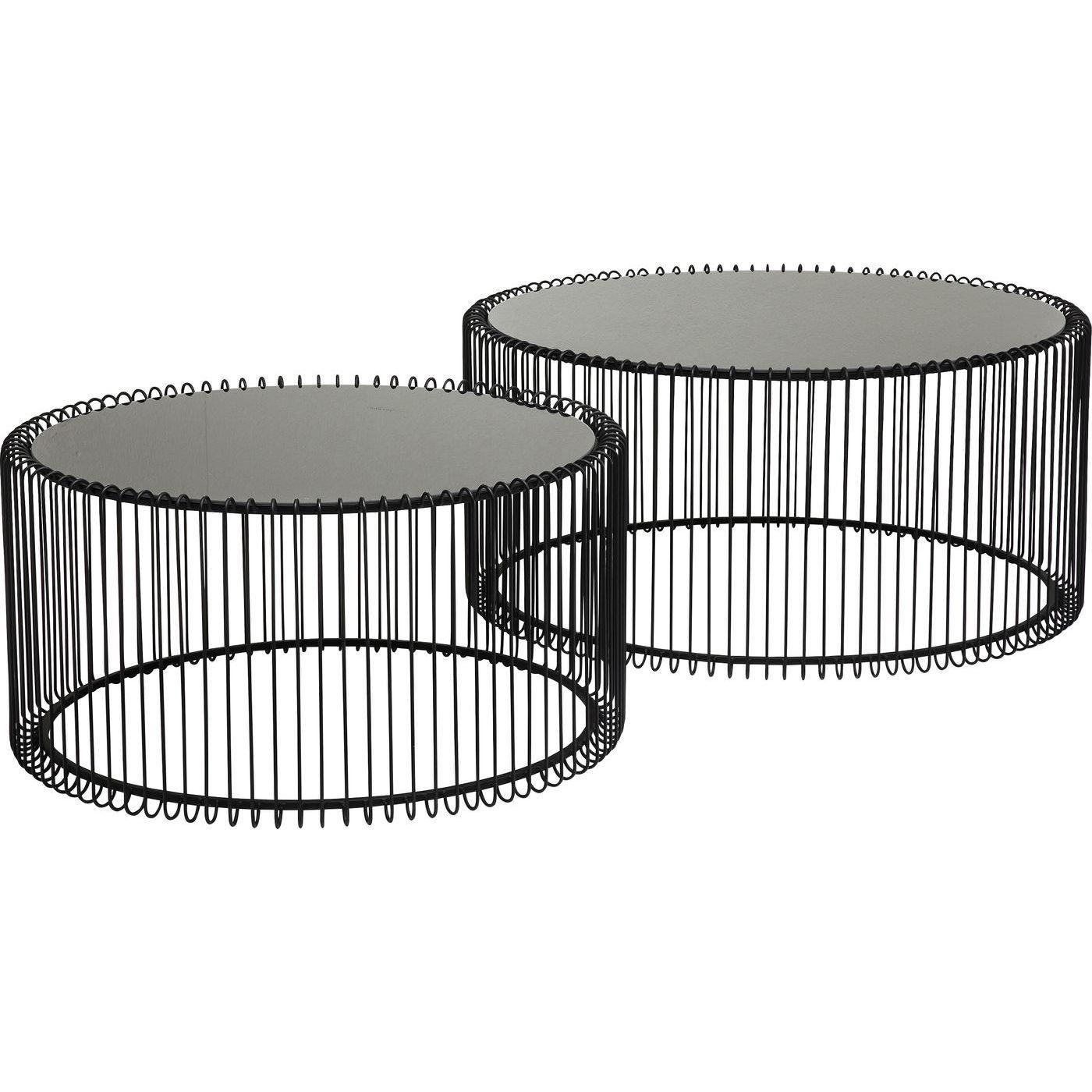 2 tables basses rondes en acier noir et verre