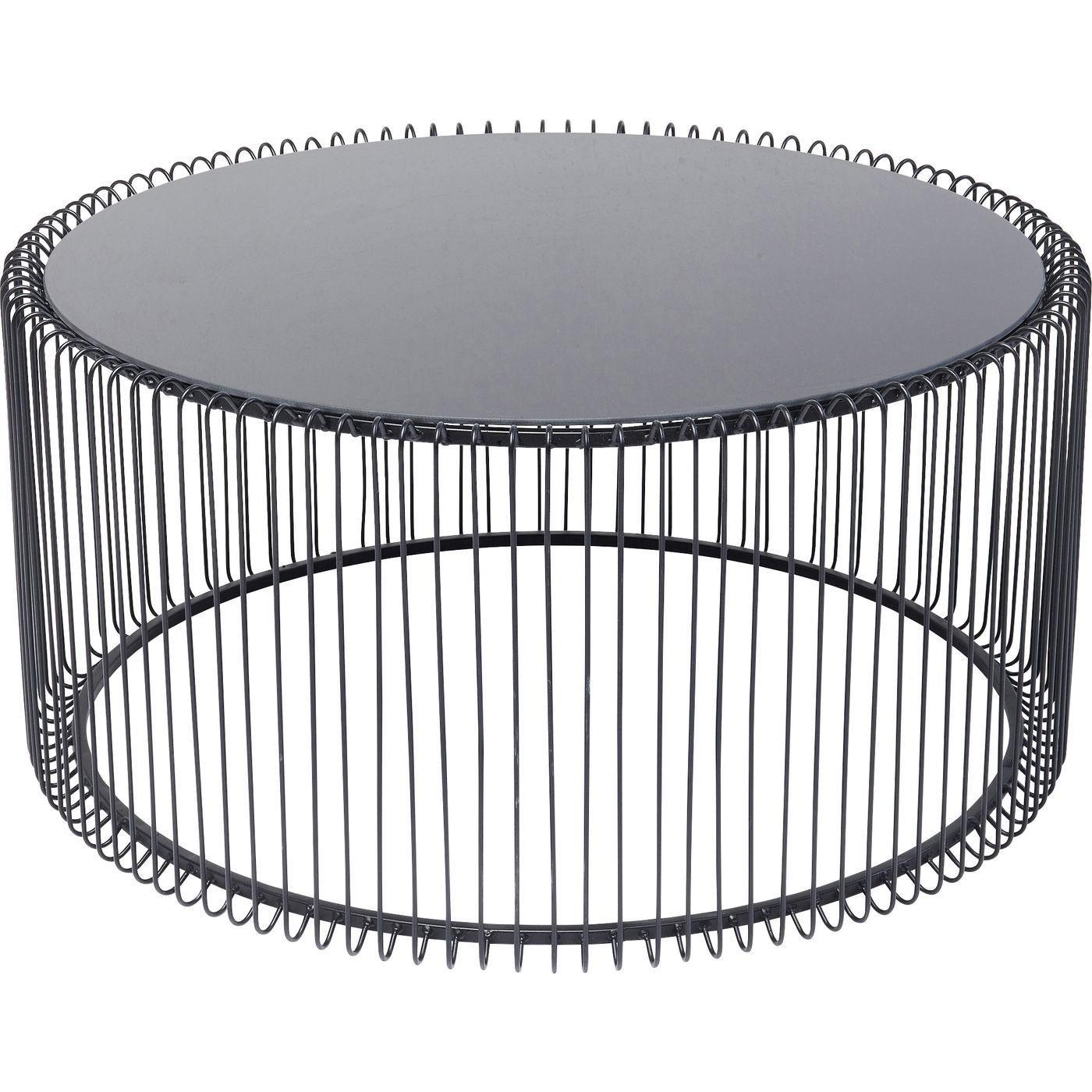 Table basse ronde en acier noir et verre