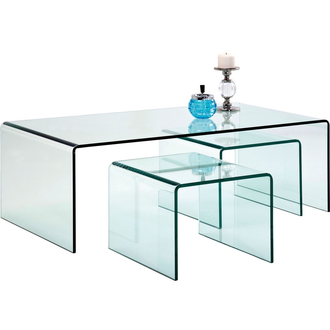 3 tables basses en verre